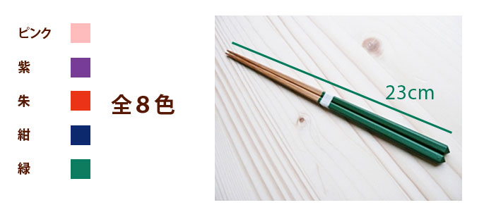 ダイヤ削ぎ竹箸(緑):説明5
