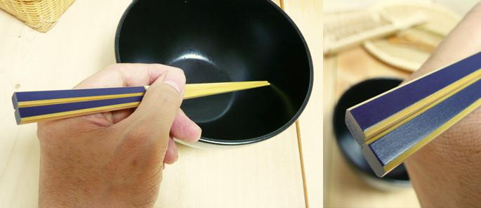 (竹箸)かすり竹箸(紺):説明2