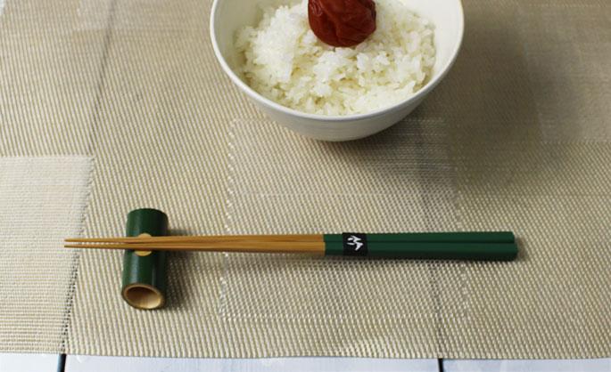 【竹の箸をプレゼントや贈り物に/京都から販売】みやこ箸(緑)/22.5cmやや短め先はそこそこ細い/ご家族で揃えるカラー5色:説明1