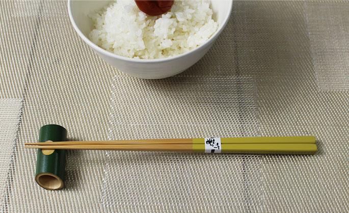 【竹の箸をプレゼントや贈り物に/京都から販売】みやこ箸(珍色からし色)/22.5cmやや短め先はそこそこ細い/ご家族で揃えるカラー5色:説明1