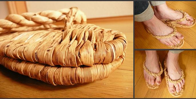 竹皮むかし草履(二重底)室内用スリッパ説明2 スリッパ