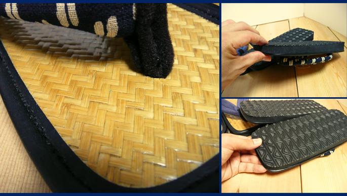 アジロ編み和柄草履(男性用)底と鼻緒部分拡大:販売説明2