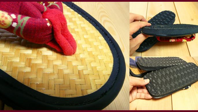 アジロ編み和柄草履(女性用)底と鼻緒部分拡大:販売説明2