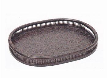 【昔の竹かご】食卓おぼん/トレー/亀甲小判盆/69C-5581:説明1