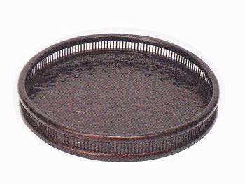 【昔の竹かご】丸型食卓おぼん/トレー/亀甲丸盆/69C-5582:説明1
