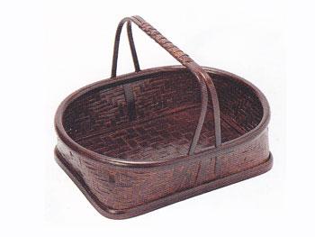 【昔の竹かご】竹製アジロ手付盛りかご(小判型竹篭)/68B-5589:説明1