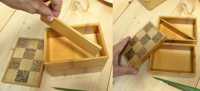 市松二段弁当箱(重箱) 蓋を開けたところ:販売説明2
