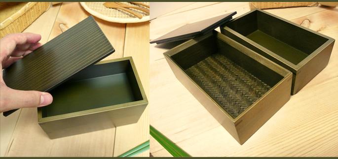 神代色二段弁当箱(重箱 蓋を開けたところ:販売説明2