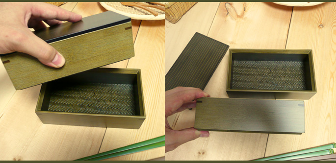 神代色二段弁当箱(重箱 二段の弁当箱の全体 詳細:販売説明6