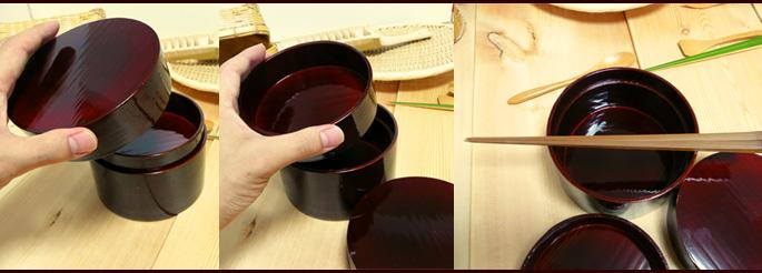溜塗丸二段弁当箱(重箱 中身の素材感 詳細:販売説明3