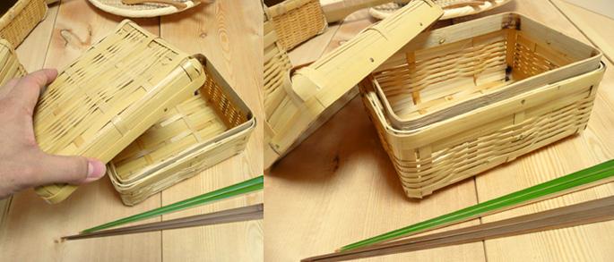 白竹みやび弁当箱(中)(重箱 蓋を開けたところ:販売説明2