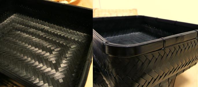 塗りアジロ二段弁当箱(高級重箱)(重箱 中身の素材感 詳細:販売説明3