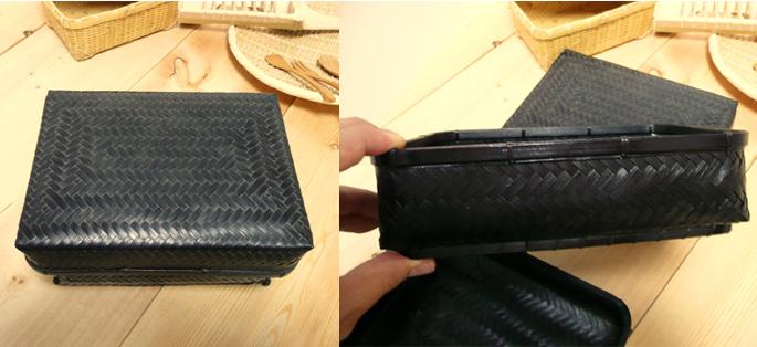 塗りアジロ二段弁当箱(高級重箱)(全体の様子 詳細:販売説明4