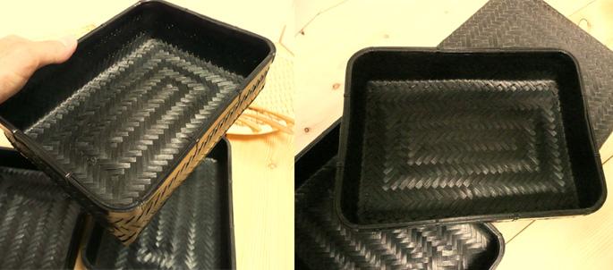 塗りアジロ二段弁当箱(高級重箱)(竹の編み込みの様子:販売説明5