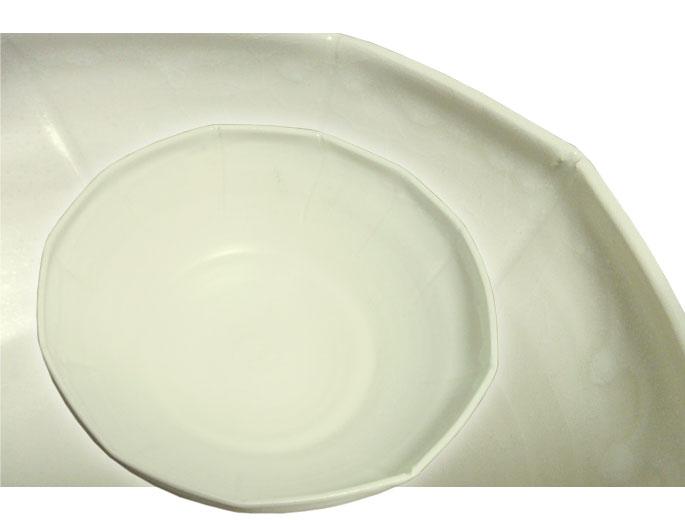 陶器 ボウル 鴨川(節目・白) 正面