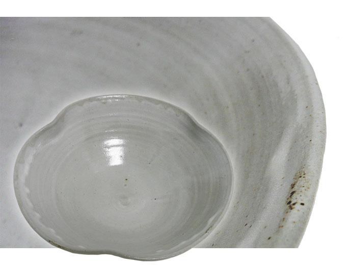 陶器 刺身など盛り皿 大鉢 三条盛り皿・(灰色) 正面