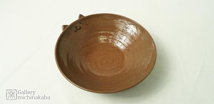【小鉢・小皿・取り皿/和食器】「道半の小皿(赤茶・猫耳付きキャラクター皿)」/子供用食器/取り皿/陶芸作家物:説明1