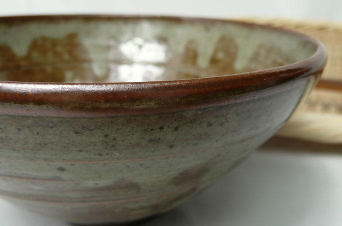 ご飯茶碗「釉だれ秋の空・赤茶色」の正面画像