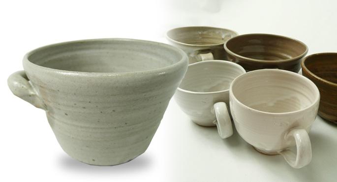 「小さな両手付きマグ・グレー」 カフェの食器として販売可能です。