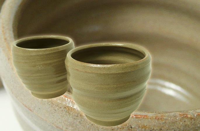「粘土ちょこ/ろくろ柄・茶」湯呑/蕎麦ちょこ 正面