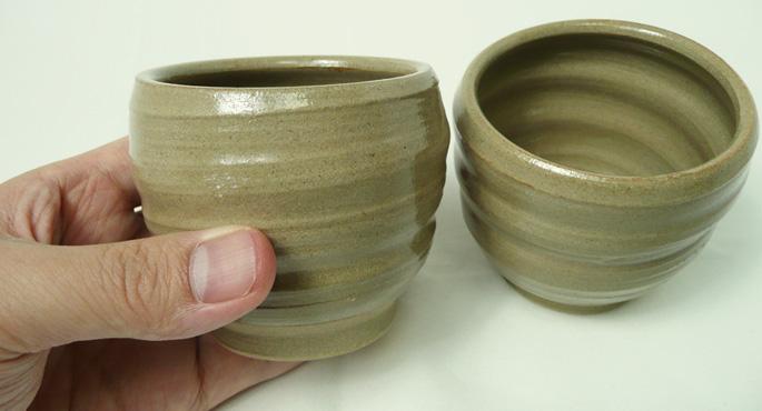 「粘土ちょこ/ろくろ柄・茶」湯呑/蕎麦ちょこ・そばちょこの仕入にご検討ください。