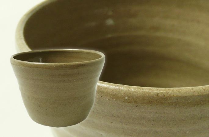 「粘土ちょこ/シンプル・茶」湯呑/蕎麦ちょこ 正面