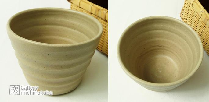 【ぐいのみ/湯呑/蕎麦ちょこ】「粘土ちょこ/ろくろ柄・楊梅色」湯呑/蕎麦ちょこ/作家物/来客用のお茶のコップとしても:説明1