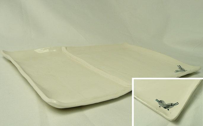 四角いワンプレート皿/ホワイトの販売です。正面画像